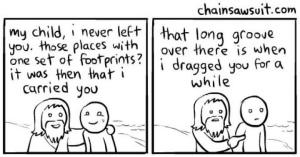 Cartoon about footprintes