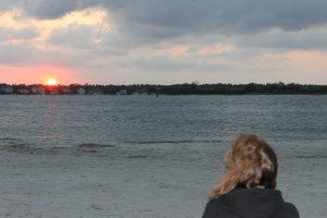Jo looking at sunset