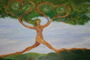Tree lady  w 2 hearts
