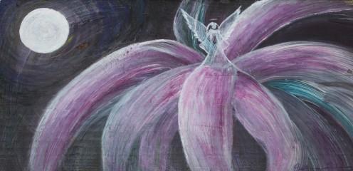 little angel on purple flower tree