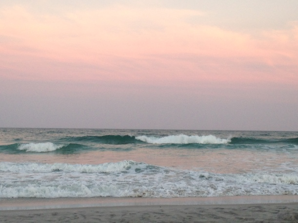 pink sky w turquoise waves