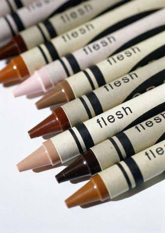 Flesh colored crayons