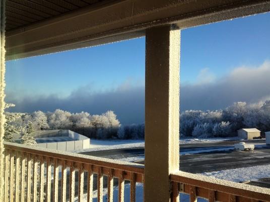 snowy morning from balcony