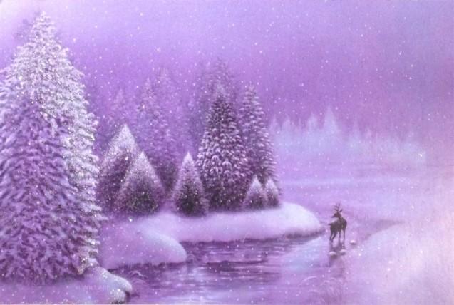 Card w deer in purple