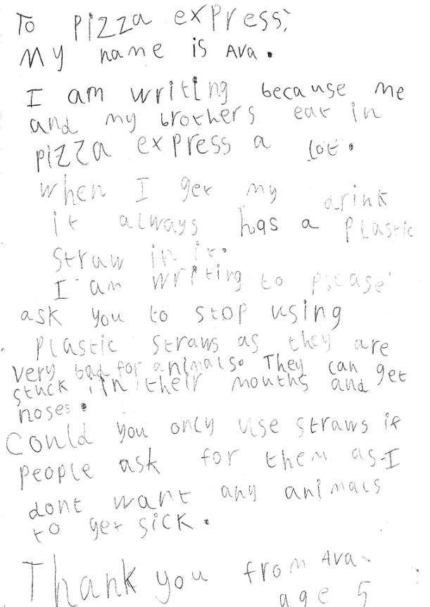 Avas Letter to Pizza Express about straws