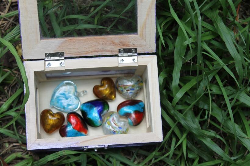 Heart box in grass