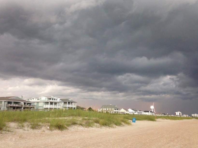 beach houses and lightening