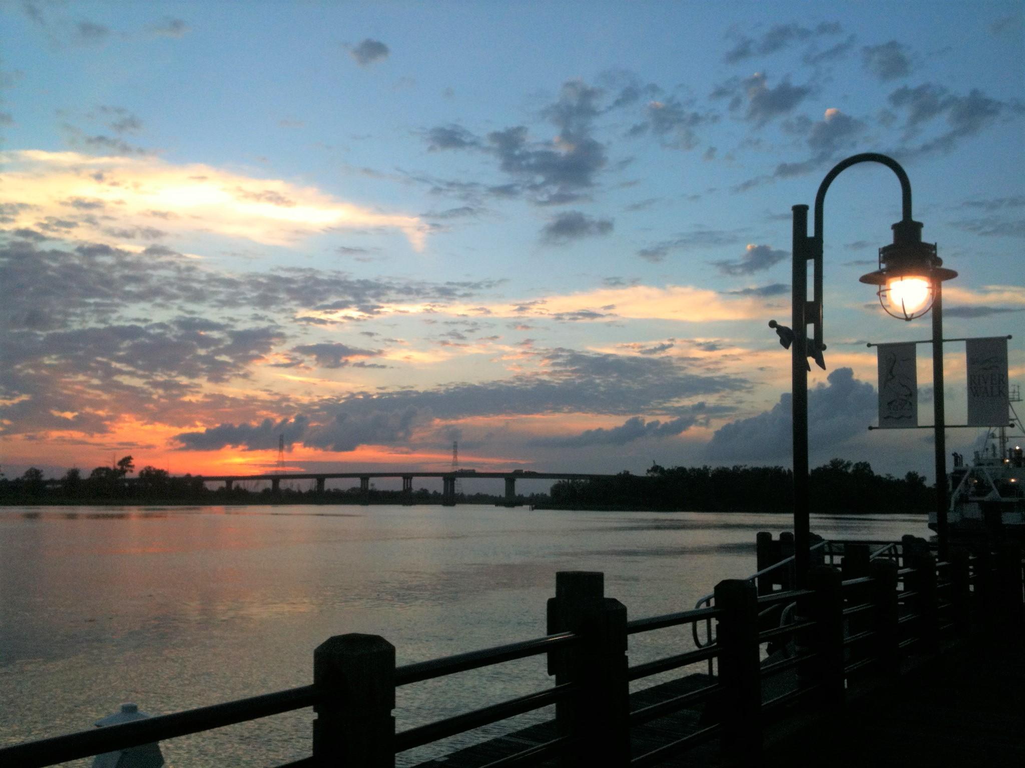 River walk light at sunset