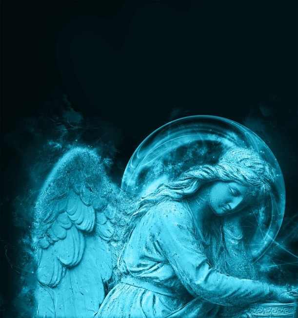 angel tired in blue