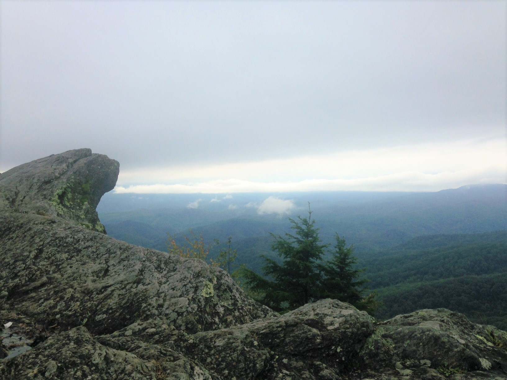 misty mountains behind rocks at blowing rock
