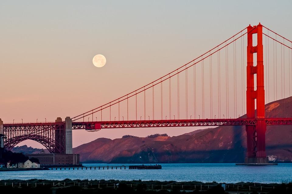 Golden Gate Bridge with moon