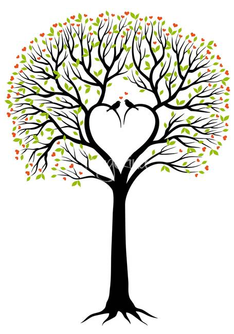 Love-tree-with-heart-shaped-branches-and-birds