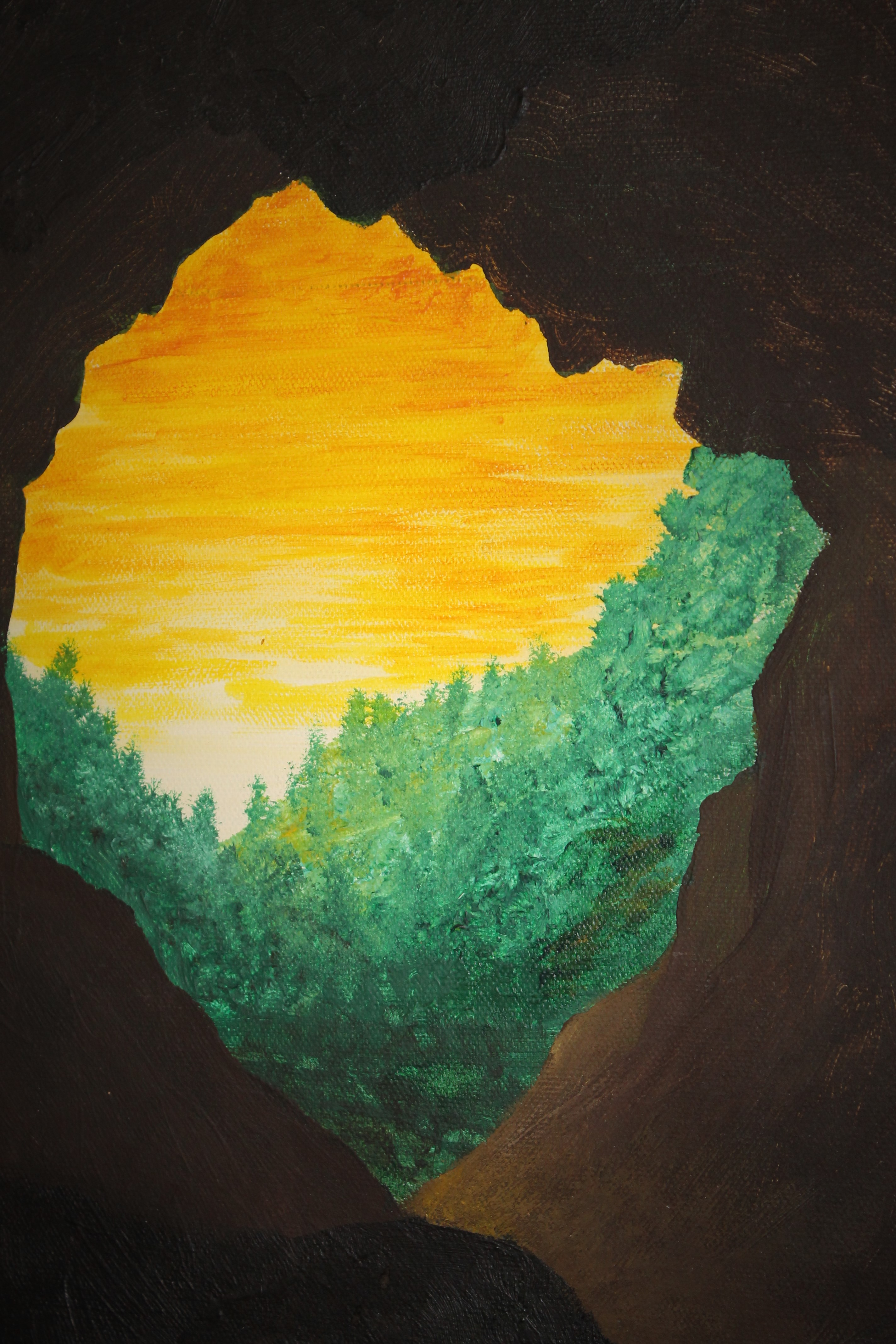 painting w yellow sky from cave